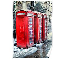Three Telephone Boxes Poster