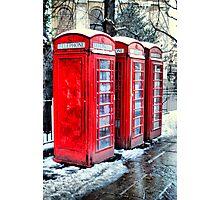 Three Telephone Boxes Photographic Print