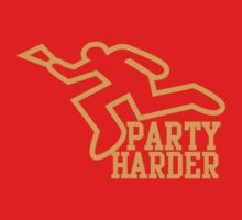 PARTY HARDER! with dead coroner murder outline and a beer glass Kids Tee