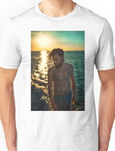 Sunset Tattoo Male Portrait Unisex T-Shirt