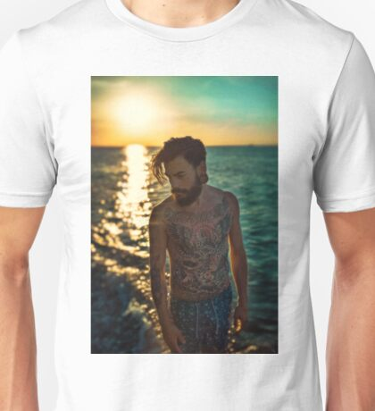 Sunset Tattoo Male Portrait Unisex T-Shirt
