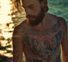 Sunset Tattoo Male Portrait Sticker