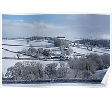 Wintry snowscape in Devon Poster