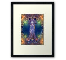 Quan Yin and the silent song of the lightning white rose of wisdom Framed Print