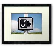Speed camera warning sign Framed Print