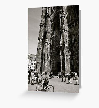 Biking below the Strasbourg Cathedral Greeting Card