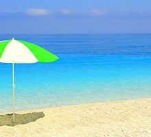Beautiful Blues - Myrtos Beach by Honor Kyne