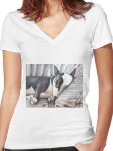 Mini Bulldog Terrier Women's Fitted V-Neck T-Shirt