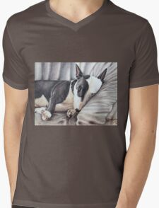 Mini Bulldog Terrier Mens V-Neck T-Shirt