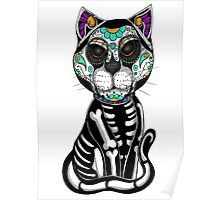 Day of the dead sugar skull cat tattoo graphic art Poster