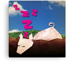 LE COCHON DE SNOOZE (A snoozing pig). Canvas Print