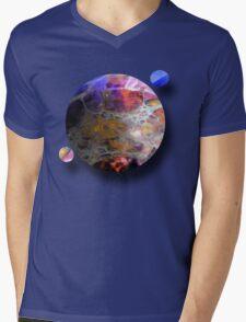 Oil slick Planets Mens V-Neck T-Shirt