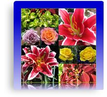 Lilies and Roses Summer Flowers Collage Canvas Print