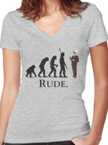 Cannibal - Evolution - RUDE Women's Fitted V-Neck T-Shirt