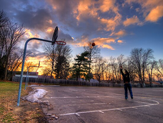 Hoops At Sunset by Johnny Joo