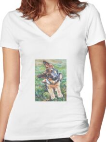 German Shepherd Fine Art Painting Women's Fitted V-Neck T-Shirt