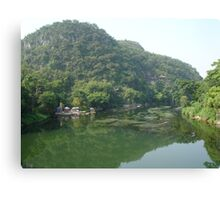 Wooden Raft Near Guilin China Canvas Print