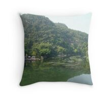 Wooden Raft Near Guilin China Throw Pillow