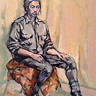 Liam, pensive. Oil on linen on panel. 2015  by Elizabeth Moore Golding