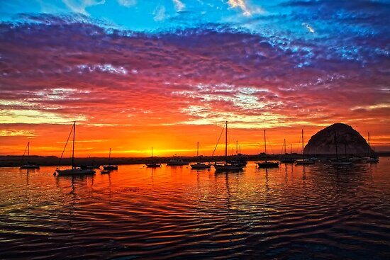 Sailboats At Sunset by DavidCastello