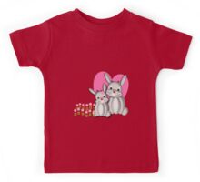 Cute Whimsy Mother And Baby Bunny Rabbits  Kids Tee