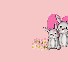 Cute Whimsy Mother And Baby Bunny Rabbits  by Artification