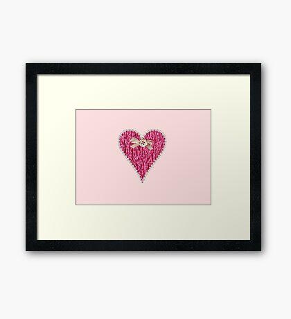 Crafty Sweet Pink Love Heart Framed Print