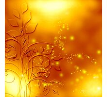 abstract golden floral design Photographic Print