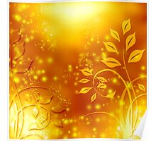 abstract golden floral design Poster