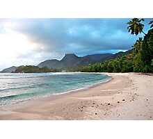 Sunset on Barbarons Beach, Seychelles Photographic Print