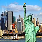 New York Statue Liberty, NYC Skyline Cityscape by upthebanner