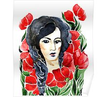 girl and flower Poster