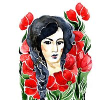 girl and flower Photographic Print