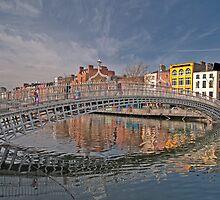 Dublin City Landmark, Ha'penny Bridge, Ireland by upthebanner