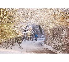 Walking in the Snow (Up To Bittery Cross) Photographic Print