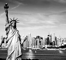 New York City Skyline in Black and White by upthebanner