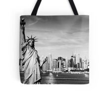 New York City Skyline in Black and White Tote Bag