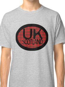 uk scotland tshirt with tartan background by ian rogers Classic T-Shirt