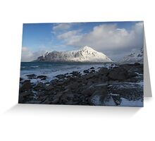 White, blue and grey Greeting Card