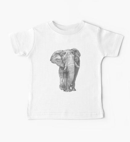 Elephant Drawing in Graphite Baby Tee
