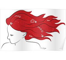 Red head with flowers Poster