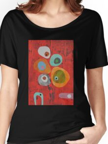 Retro Red Wood Grain Women's Relaxed Fit T-Shirt