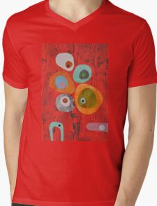 Retro Red Wood Grain Mens V-Neck T-Shirt