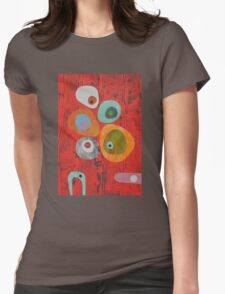Retro Red Wood Grain Womens Fitted T-Shirt