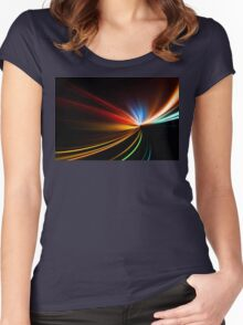 rapid race of night highway Women's Fitted Scoop T-Shirt