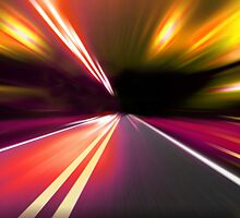 acceleration speed motion on night road by Orderposter