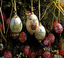 Painted eggs on Well in Franconia, Germany. by David A. L. Davies