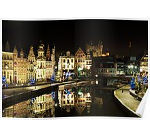 Ghent Historical centre, nightview Poster