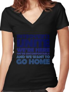 Introverts unite we're here we're uncomfortable and we want to go home Women's Fitted V-Neck T-Shirt