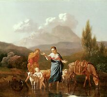 Holy Family at a Stream by Karel Dujardin by Bridgeman Art Library